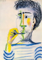 Pablo Picasso. Head of a bearded man with cigarettes III