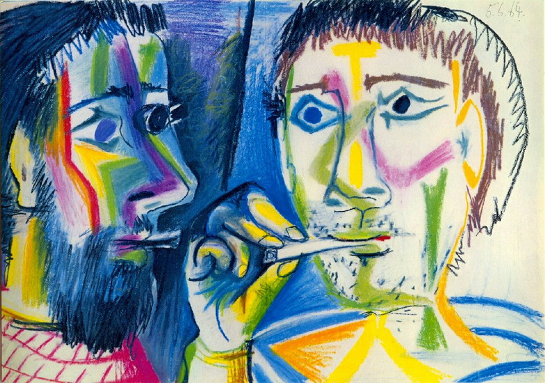 Pablo Picasso. Two smokers (Heads), 1964
