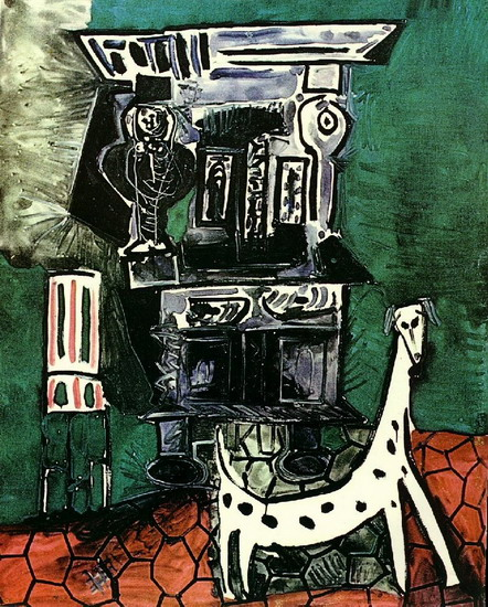 Pablo Picasso. The buffet has Vauvenargues [Buffet Henry II with dog and chair], 1959