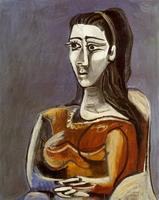 Pablo Picasso. Woman sitting in an armchair (Jacqueline)