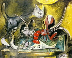 Pablo Picasso. Still Life with Cat and Lobster