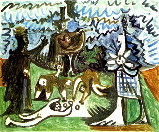 Pablo Picasso. Guitarist and characters in a landscape III, 1960