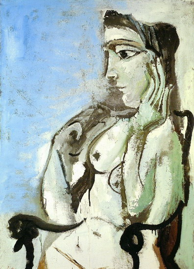 Pablo Picasso. Nude woman sitting in a chair, 1964