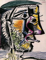 Pablo Picasso. Head of a bearded man with cigarette