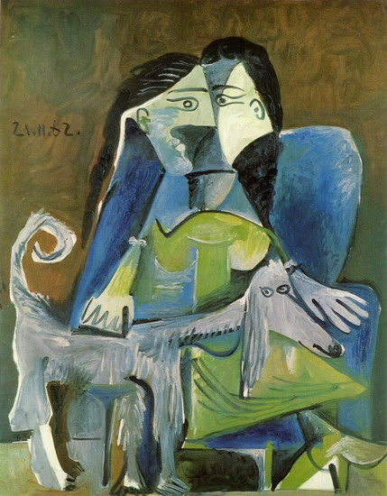 Pablo Picasso. Woman with dog, 1962