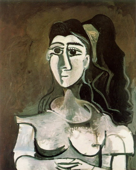 Pablo Picasso. Bust of woman with yellow tape (Jacqueline), 1962