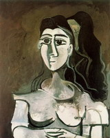 Pablo Picasso. Bust of woman with yellow tape (Jacqueline)