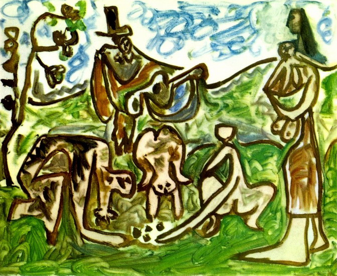 Pablo Picasso. Guitarist and characters in a landscape I, 1960
