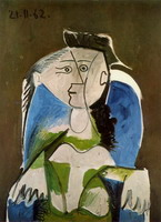 Pablo Picasso. Woman sitting in a blue armchair