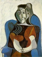 Pablo Picasso. Woman sitting in an armchair (Jacqueline) II