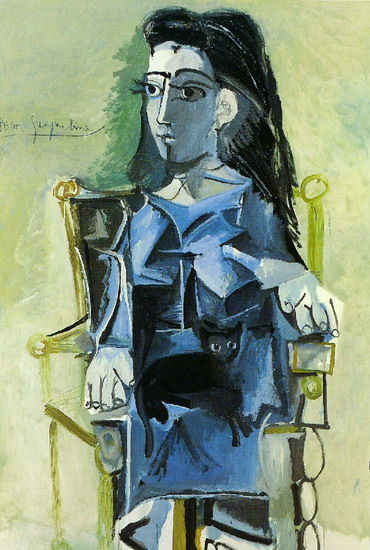 Pablo Picasso. Jacqueline sat with her cat, 1964