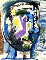 Pablo Picasso. Head of a bearded man at the V cigarette