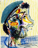 Pablo Picasso. Head of a bearded man with cigarette 1