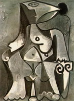 Pablo Picasso. Nude sitting in a chair