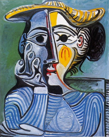 Pablo Picasso. Woman with Yellow Hat (Jacqueline), 1961