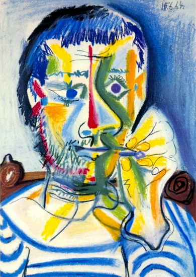 Pablo Picasso. Bust of man with cigarette II, 1964