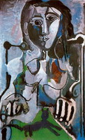 Pablo Picasso. Woman with cat sitting in a chair, 1964