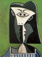Woman's head on a green background