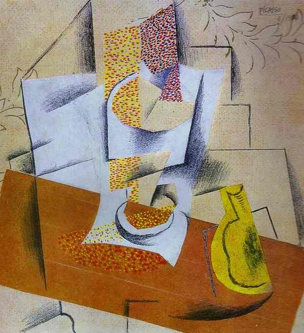 Pablo Picasso. Composition. Bowl of Fruit and Sliced ​​Pear, 1913
