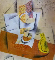Pablo Picasso. Composition. Bowl of Fruit and Sliced ​​Pear, 1913 - 1914